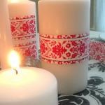 Тематична лента, поставена по средата на свещта