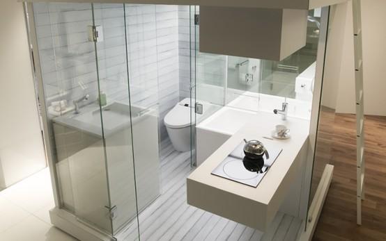 Компактна съвременна баня за малък апартамент
