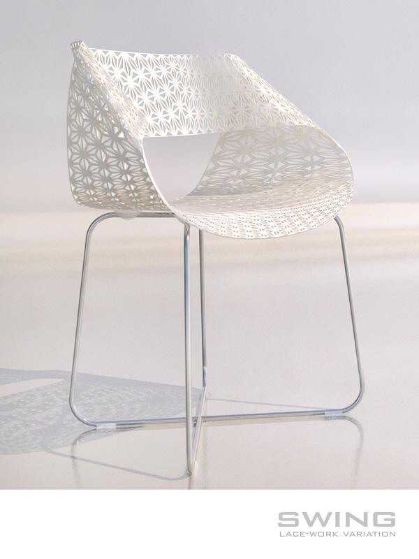 Дизайнерски стол и маса с дантелена визия