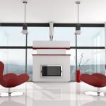 Футуристичен интериорен дизайн за всекидневна