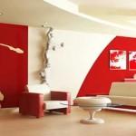 Авангарден дизайн за всекидневна в червено и бяло